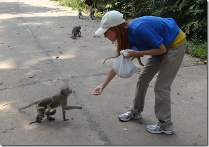 Laura B feeding monkeys 2